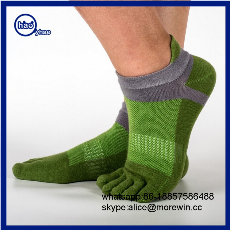 Yhao Low Quantity Men Cotton Low Cut Athletic Toe Socks 5 Finger No Show Mesh Wicking 6 Pack