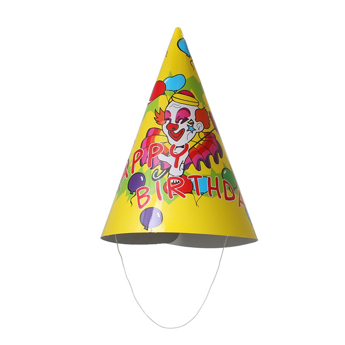 Hat Cone At Random Clown Pattern Paper Birthday Party Cap