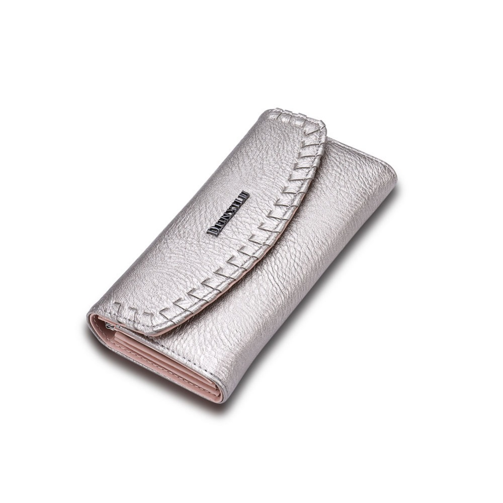 2017 new style chinese made Retro Silver Grey woman fashion luxury leather wallet