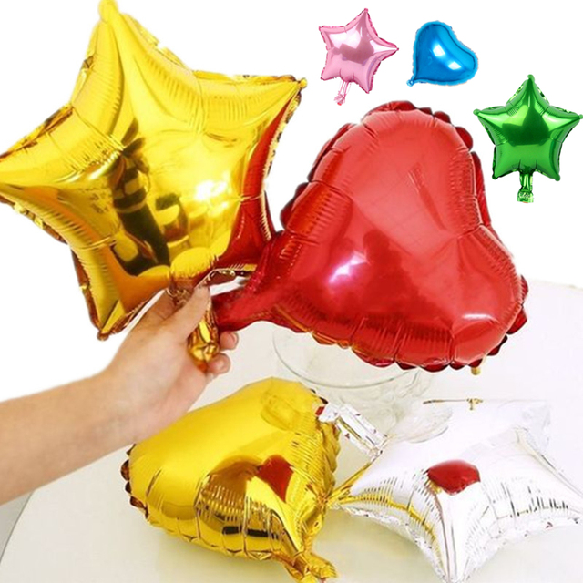 1pcs 10inch 25cm Foil Balloon 9 Colors Heart Shape Balloons Birthday/New Year/Party Wedding Decoration Star Balloon
