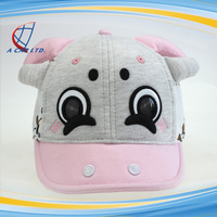High Quality Cartoon Cute Cow Full Cotton Embroidery Baseball Cap for Girls
