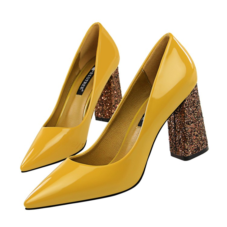 Cheap Wholesale Women Shoes Pumps Glitter Chunky <strong>Heel</strong>