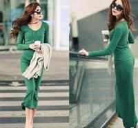 Z71871A EUROPEAN style long sleeve sexy ankle length lady dress