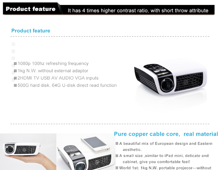 Hot Sale! Mini Overhead Home Theater Projector