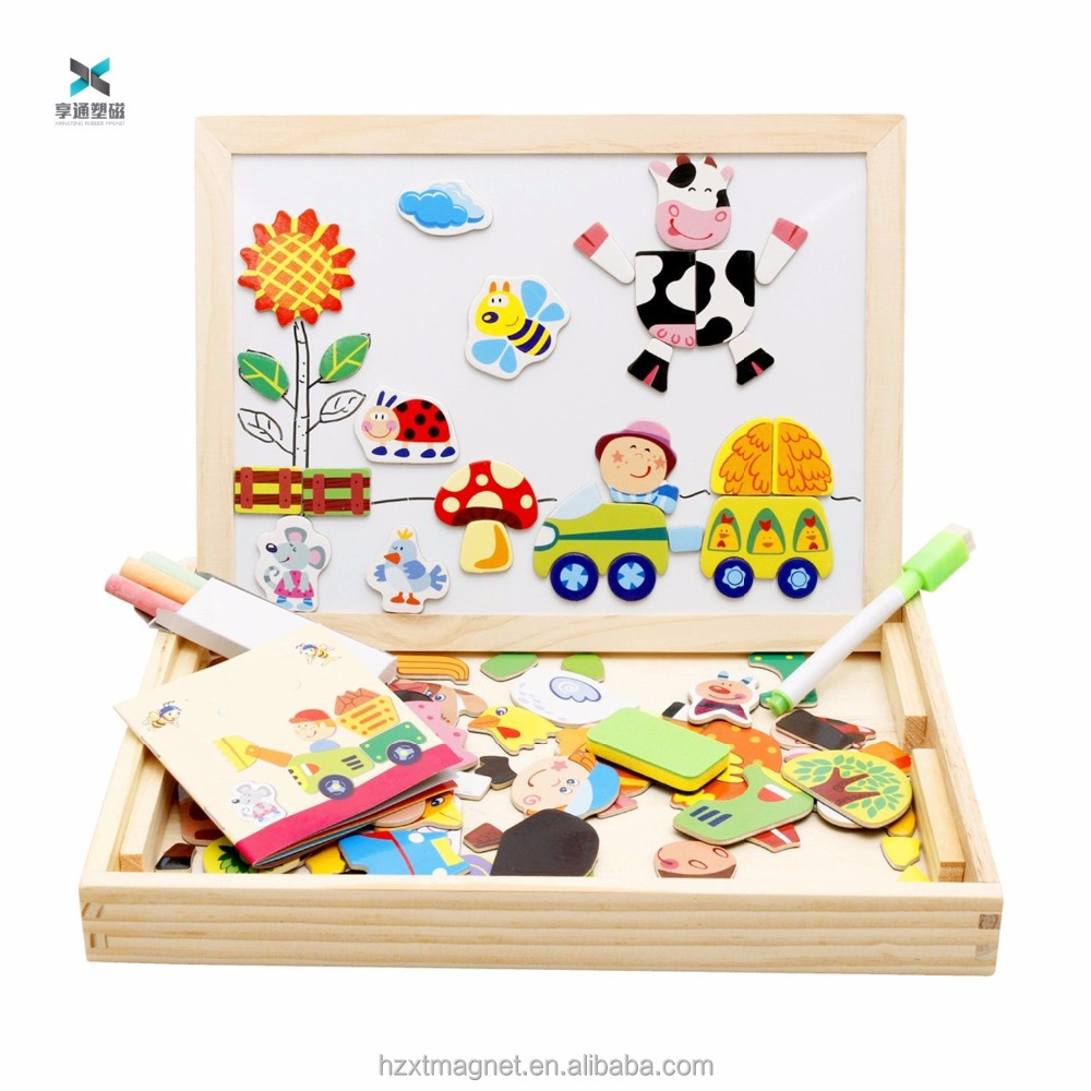 Wooden Kids Toys Magnetic Easel Dry Erase Board Puzzles