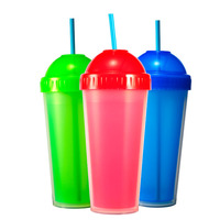 Custom food grade 480ml insulate hard plastic double wall straw cups for drinking