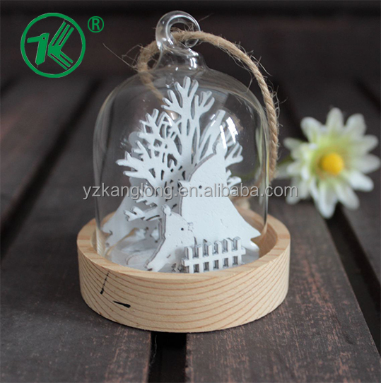 Small Christmas Hanging Glass Bell Cloche with Wood Base and Kinds of Inner Wood Design