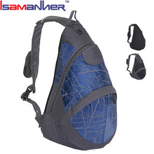 College students hiking shoulder sling bag, travel teenager triangular backpack