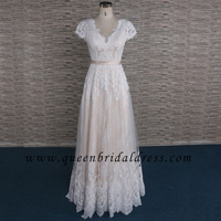 Cheap Cap Sleeves Champagne Match Ivory Lace Bridal Dresses