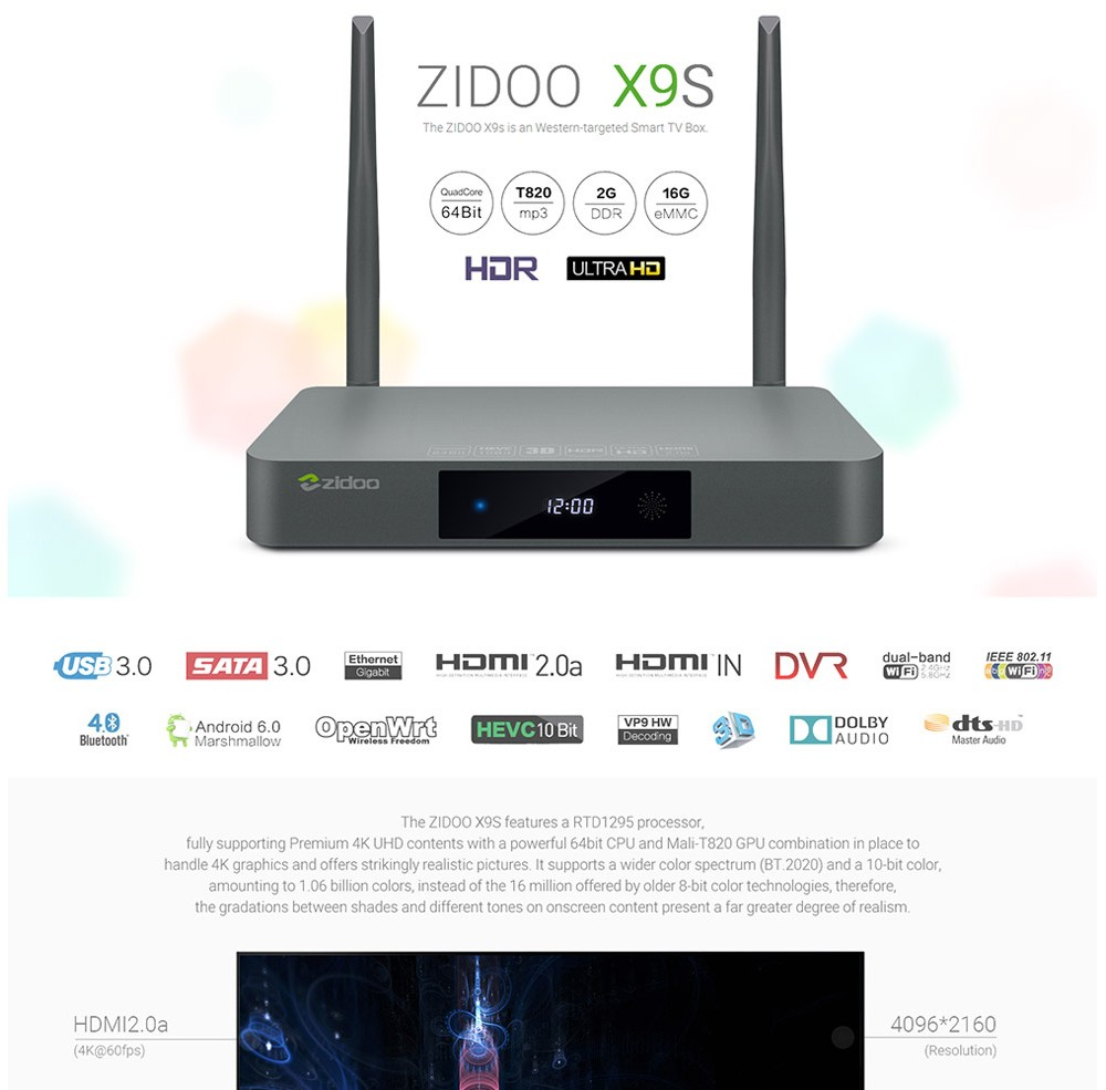 [Genuine] Presale ZIDOO X9S tv box Android 6.0 + OpenWRT(NAS) Realtek RTD1295 2G/16G 1000M media player