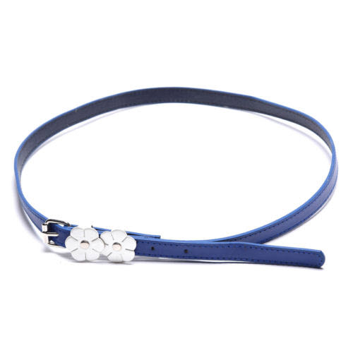 Beautiful blue flower top grain leather belt for women