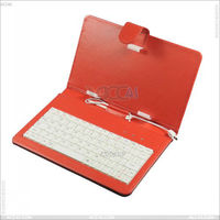 7 Colors Flip Folio Stand Protection USB Keyboard PU Leather +Fabric Case Cover 7 inch Android Tablet PC P-UNI7TABKBCASE002