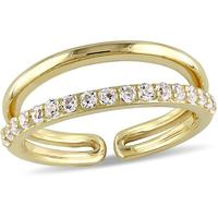 Adjustable sterling silver white cz cubic zirconia yellow gold double band ring