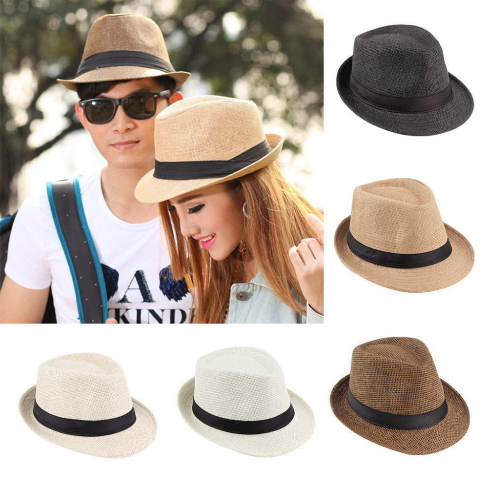 Unisex Fedora Trilby Hat Cap Straw Panama Style Packable Travel Sun Hat