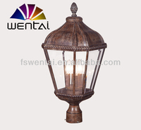 Newest royal style european collection outdoor lamp with clear bent glass post light for house--DH-1873