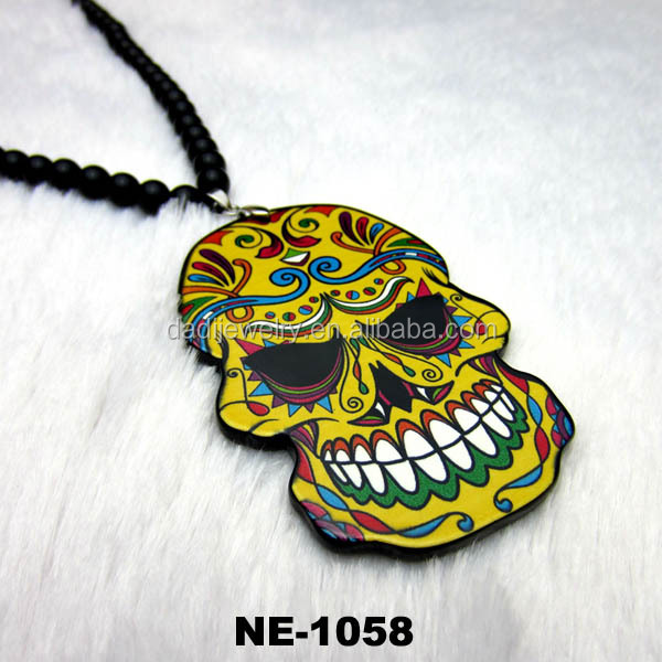 Hot ! Custom Fashion Acrylic Printed New Hip Hop Skull Pendant Necklace