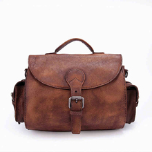 Vintage Leather Messenger Bags 100% Genuine Leather Bags Women's Handbags 2017 Ladies Big Shoulder Bags