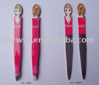 Beauty lady tweezer/stainless steel/slanted