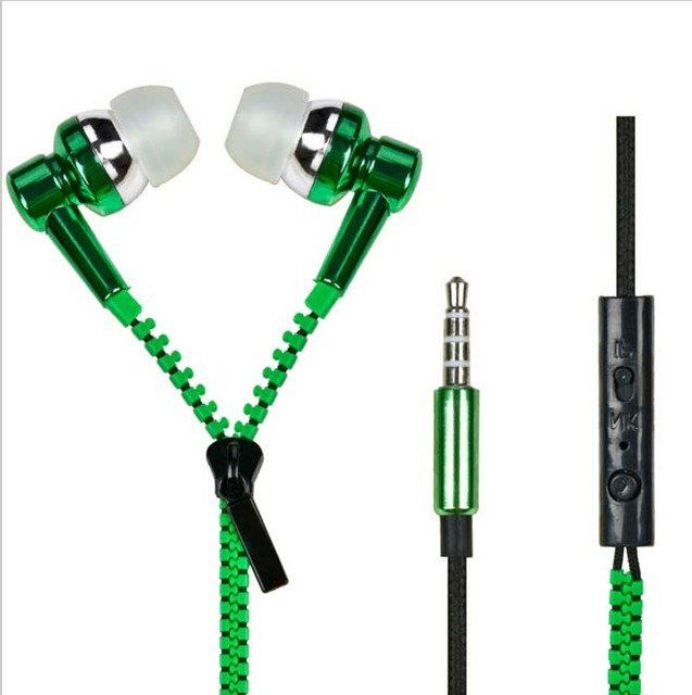 Hot New Sale Metal Zipper Earphone Fashion with 3.5mm Connector Microphone Stereo Bass for iphone ipad MP3 MP4