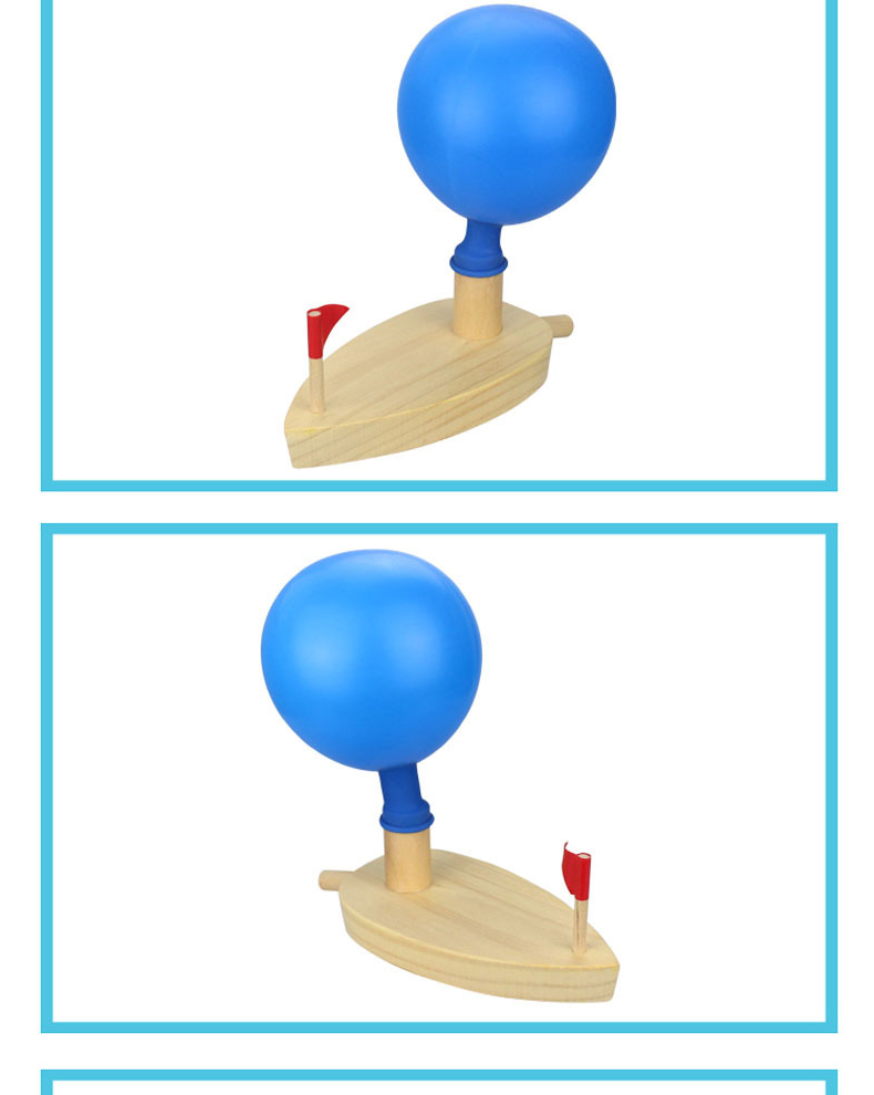 A wooden boat balloon blow boat Balloon powered ship water bath toy Simple boat Physics knowledge toys