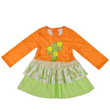 Fall and winter cactus girl <strong>dress</strong> the little <strong>girl's</strong> cotton <strong>dress</strong>