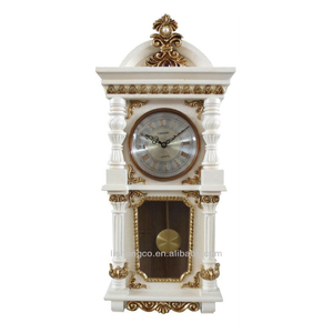 Hourly chiming wood frame carving wall clock H177