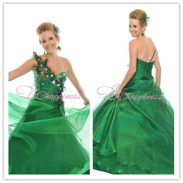 green ball gown prom dresses quinceanera cheap wedding one shoulder