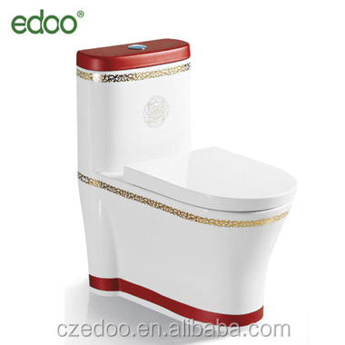 2017 China Supplier Color Toilet Gold Red Eddy One Piece Ceramic Toilet