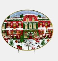 Large oval shaped christmas design tray
