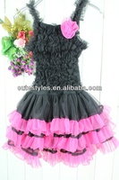 Kids Black Petti Dresses Fashion Lace Dance Tiered Dress With Pink Flowers Age Baby:1-6Y Sample Supported Baby Halloween Dress
