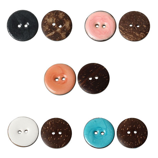 Scrapbooking Handmade Round 2 Holes Enamel Mixed Color Coconut Shell Sewing Buttons