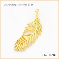 Gold charms,Fashion gold feather pendant jewelry,Angel's wing feather charms pendant designs gold plated pendant ZX-P8710