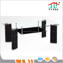 8mm Clear Top Tempered Glass with Black Glass Bottom Leather Covered PVC Legs Coffee Table