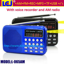 L-065AM small multimedia speaker box with FM/AM radio and MP3 player
