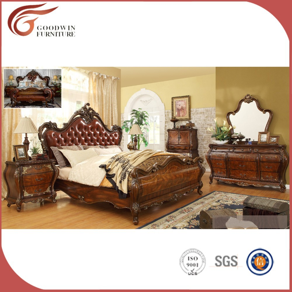 Solid rubber <strong>wood</strong> carving elegant king size bedroom sets WA155