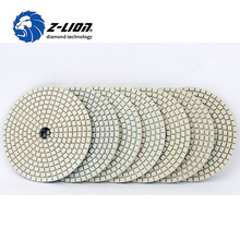 "Z-LION 4"" Set Of Polishing Pads White Flexible Premium Diamond Granite Marble Floor Polishing Wet Pad Diamond Sanding Discs"