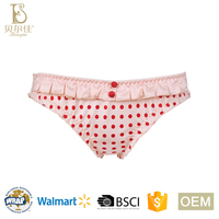 OEM new design fancy ladies printing satin panties for women girls briefs underwear with buttons