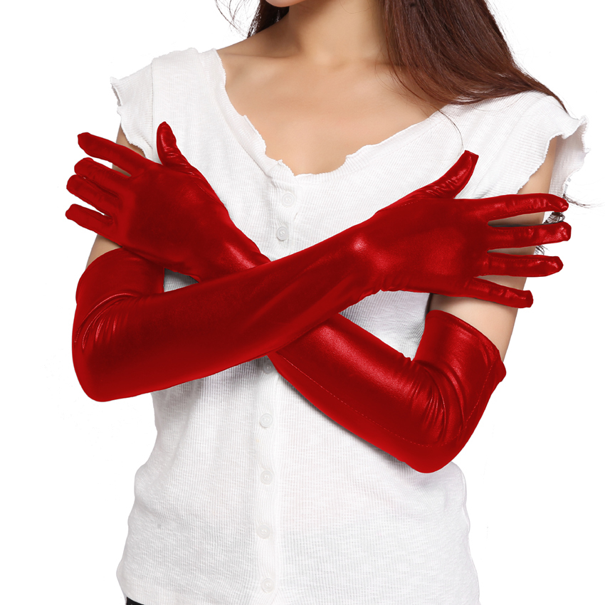 Beauty's Love PVC Look Gloves Elbow Length Black Wet Look Metallic gloves Faux Leather Gloves Latex Gothic
