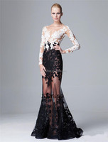 Summer New Arrival Sheer Evening Gown V-Neck Lace Applique Illusion Back Long Sleeve Transparent Evening Dress Black White