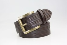 Cross stitching mens leather belt brown leather belt