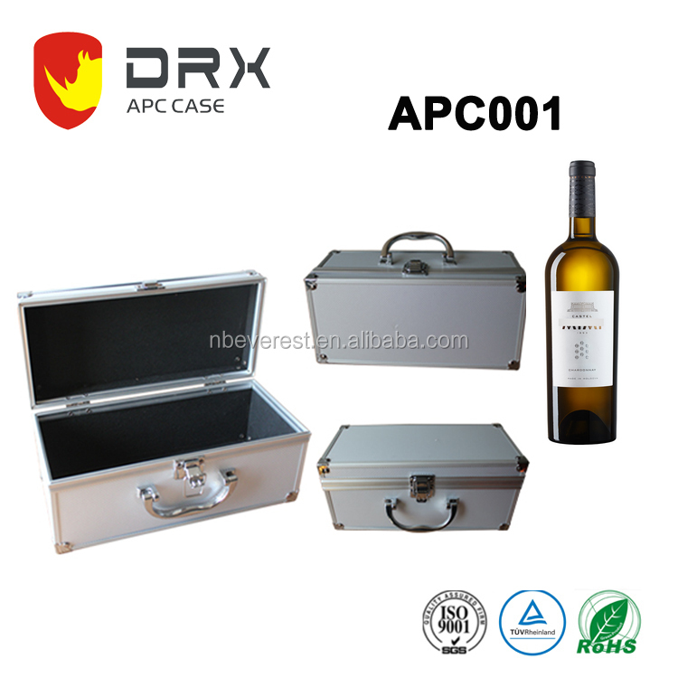 Wholesale portable aluminum case,wine glasses carrying case for gift