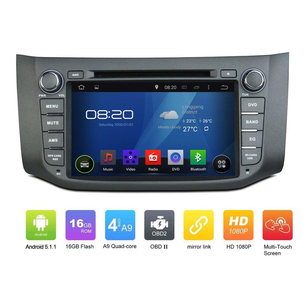 OEM Pure 2DIN ANDROID 5.1.1 CAR DVD GPS for Sentra 2012-2014 Quad Core 1024*600 Touch Screen Car GPS Navgation radio audio