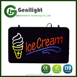 Red Ice Cream Logo Clear Backing Neon Sign