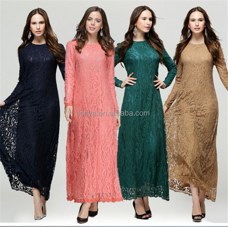 Women latest lace design 100% lace multicorlor turkish clothes for women Chian wholesale abaya turkey