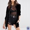 wholesale women bomber jacket tall longline bomber plain black velvet bomber jacket