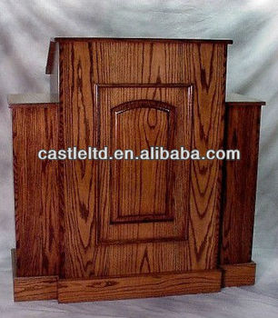 Evangelist style wooden church pulpit with two side wings/solid wood church pulpit with cherry finished