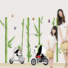 Cute pandas drive motocycle in bamboo forest wall sticker kids room bedroom sofa wallpaper diy home pvc adesivo de parede