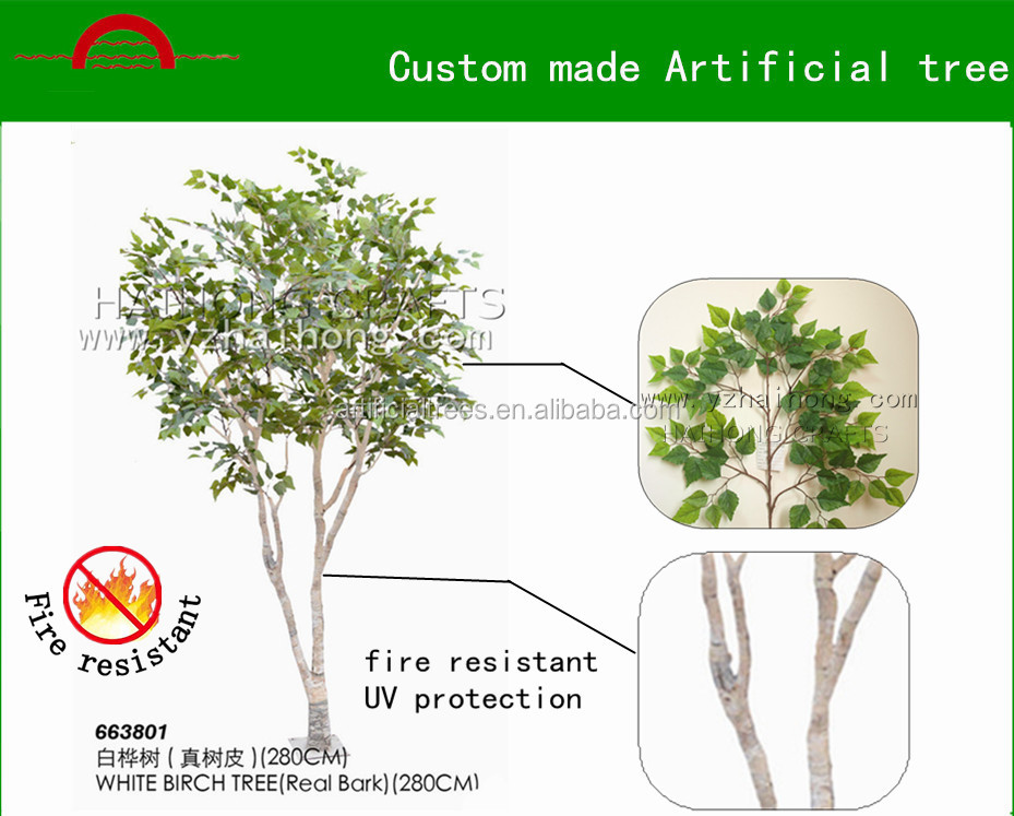 Custom made silver birch tree/Manufacture high quality artificial white birch tree decoration