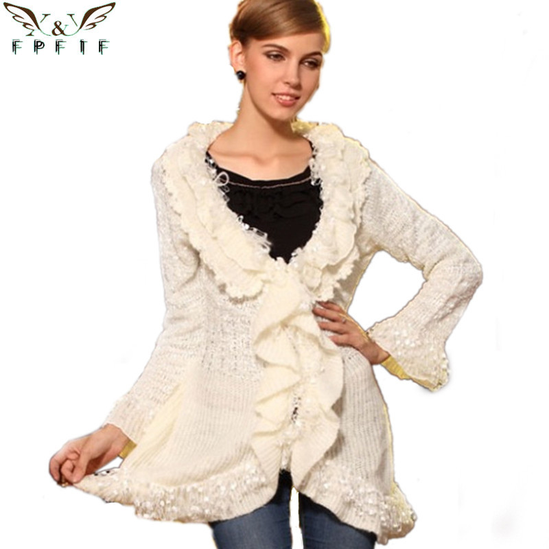 Free shipping 2015 autumn and winter cardigan sweater   fringed celebrity long-sleeved White/black sueter fashion women cardigan