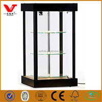 Modern low price spinning glass display cases with halogen top lights for mobile phone display